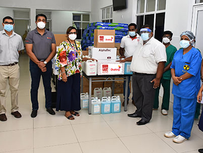 Dialog Axiata with Manusath Derana Donates Essentials to Hospitals and Distributes Dry Rations in Lockdown Areas