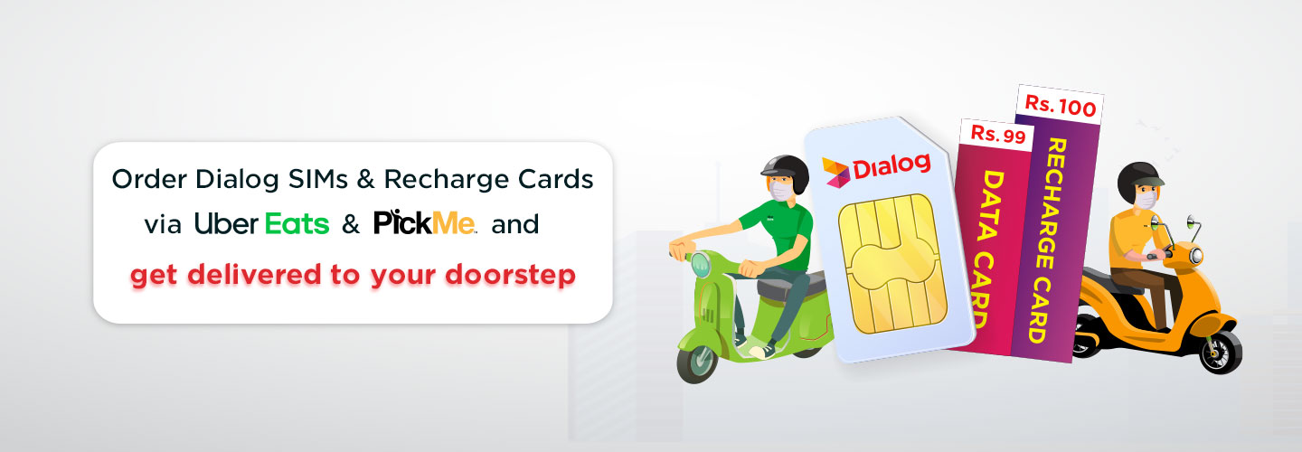 Banner of Order Dialog SIMs and Recharge cards via Ubereats and PickME promotion